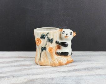 Vintage Ceramic Panda Bear Planter / Vase, Japan