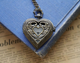 Bronze Carved Heart Pocket Watch Heavy Duty with Clasp and Chain