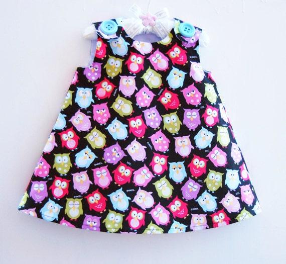 On SALE - Last One - Sleepy Owls - Girl Dress - Toddler Dress  - Baby Girls Clothing - Handmade Dress