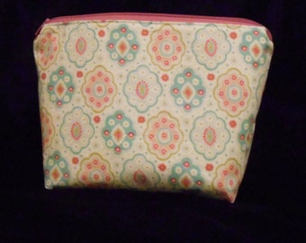 pastel and stripe cosmetic/makeup/toiletry case/clutch. zippered bag