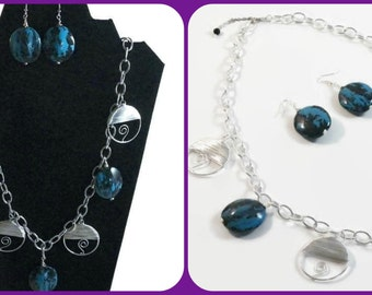 Blue & Silver Wire Wrapped Necklace with Earrings with Blue Marble Puff Beads.  Necklace Set, Jewelry Set. A beautiful gift idea.