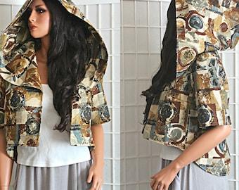 Short Jacket Oversized Hood Open Front Bohemian Urban Women's Clothing Size Medium