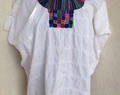 Vintage huipil style Guatemalan shirt  white cotton and yarn embroidered neckline one size