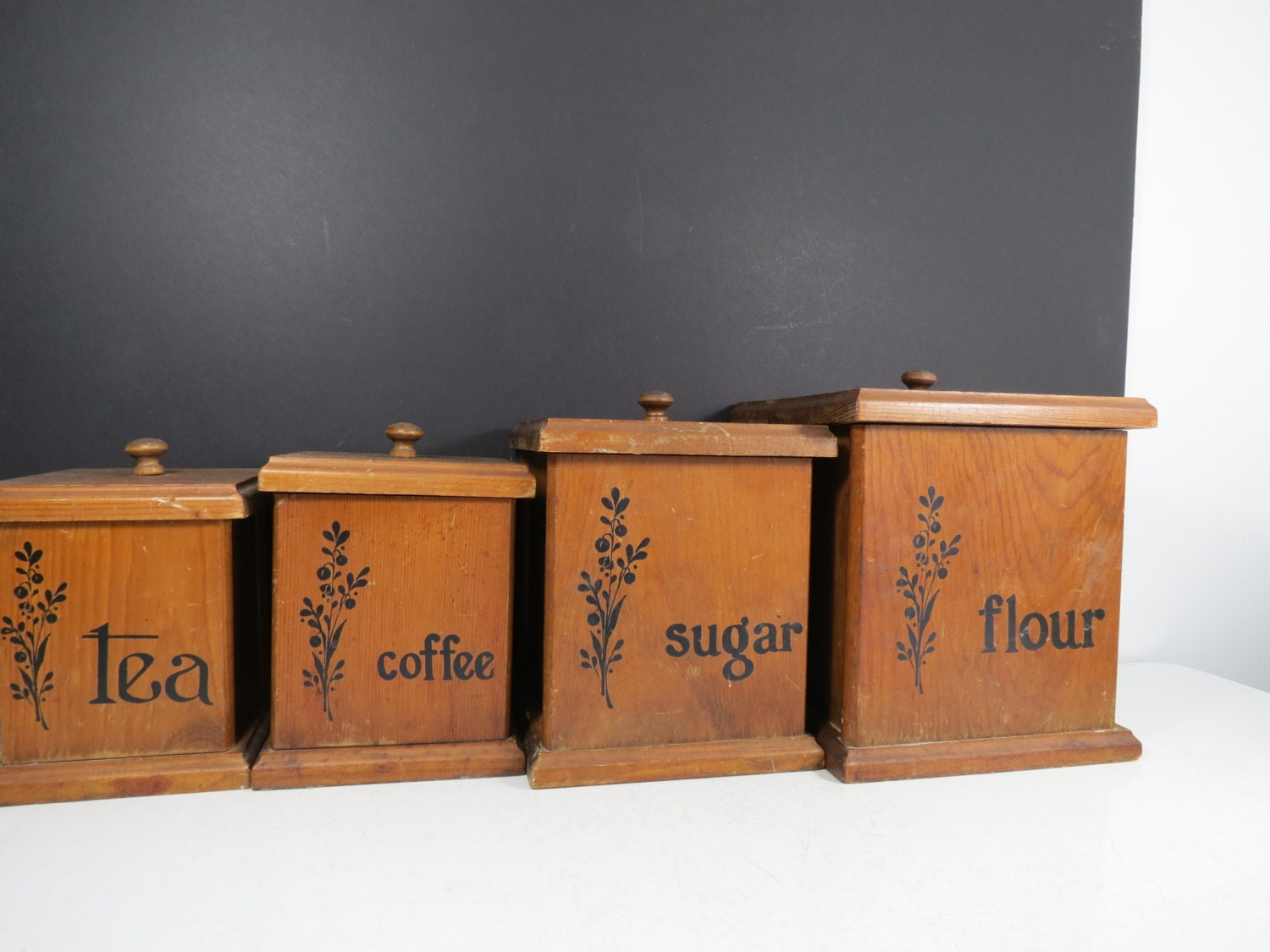 vintage wooden canisters set of four retro wood kitchen