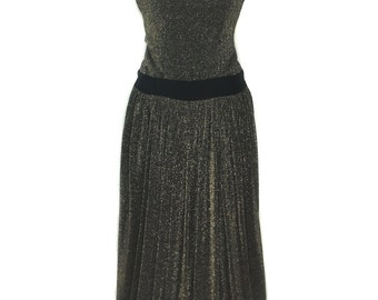 vintage 1980s lurex gown / Martin Ross / velvet bows / gold black / studio 54 NYE / women's vintage dress / size small