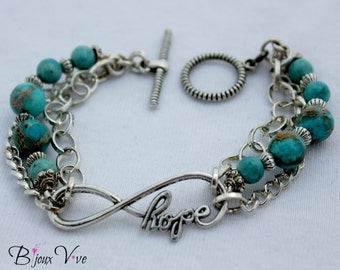 Hope Infinity Bracelet with Turquoise and Silver