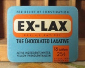 Ex-Lax Laxative Vintage Advertising Tin in Blue and Orange