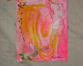 Original Painting Pink Painting on Paper Pink Abstract Wall Art Contemporary Art Small Painting acrylic painting by Cheryl Wasilow