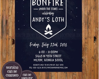 Bonfire Birthday Invitation - 30th, 40th, 50th, 60th birthday invitation - Backyard BBQ - Backyard Bonfire - Smores - Camp - Item 0307b