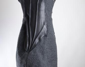 OOAK Wool Jacket Vest -  Vest Jacket - Wool Jacket - Leather Vest -  Black Vest Jacket - Women's Coat - Cardigan