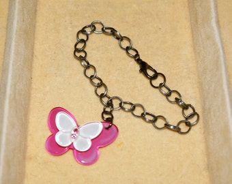 Pink & White Jeweled Butterfly Charm Bracelet
