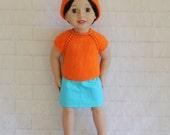 Summer Walk Orange Knitted Top Hat & Aqua Skirt - Dolls clothes for Australian Girl dolls only