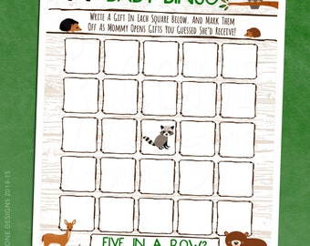 Woodland Animals Baby Shower Bingo - Printable Instant Download (Letter & A4)