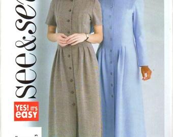 "Easy Women's High-Collar dress Pattern - Size 8, 10, 12 bust 31 1/2"", 32 1/2"", 34"" - Butterick See & Sew B4262 uncut"