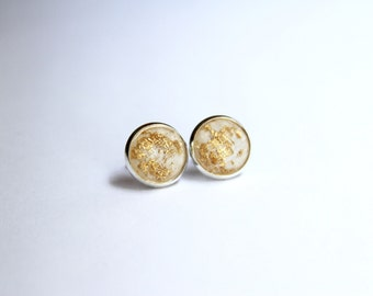 Ivory Gold Leaf Faceted Glitter Earrings - Posts/Studs