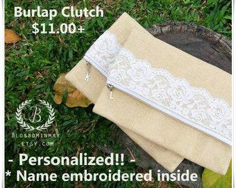 Rustic wedding bridesmaid gift, rustic bridesmaid clutch , burlap , burlap clutch , burlap wedding clutch, rustic bridesmaid clutch