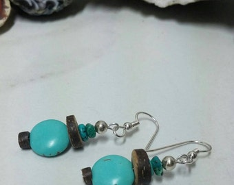 Turquoise earrings with wood, wooden earrings, turquoise jewelry or wood jewelry