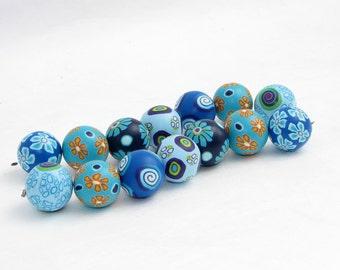 Nautilus Perlen blau aus Polymer Clay, handgefertigt, Fimo Millefiori, Millefleur, Art Clay, Kette, Blütenperlen