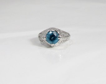 White Gold Blue Topaz and Diamond Ring; Blue Topaz Ring; Deep Blue Topaz Ring; Topaz and Diamond Ring; Cocktail Ring; Dinner Ring