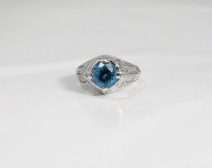White Gold Blue Topaz and Diamond Ring; Blue Topaz Ring; Deep Blue Topaz Ring; Topaz and Diamond Ring; Cocktail Ring; Dinner Ring