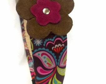 Retro  Flower Headband - Mod Hair Accessory - Satin Fabric Headband - Hippie Hair Band