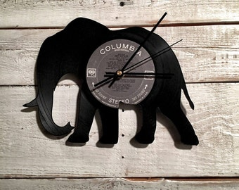 Elephant Clock | Vinyl Record • Upcycled Recycled Repurposed • Handmade Decor • Safari Animal Sillouette • Asian African • Unique Gift