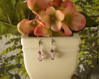Pink & Amethyst Crystal Earrings