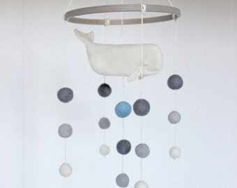 Whale Mobile // Baby Mobile // Felted Mobile