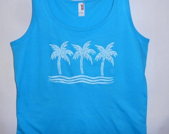 Ladies Palm Tank on Caribbean Blue