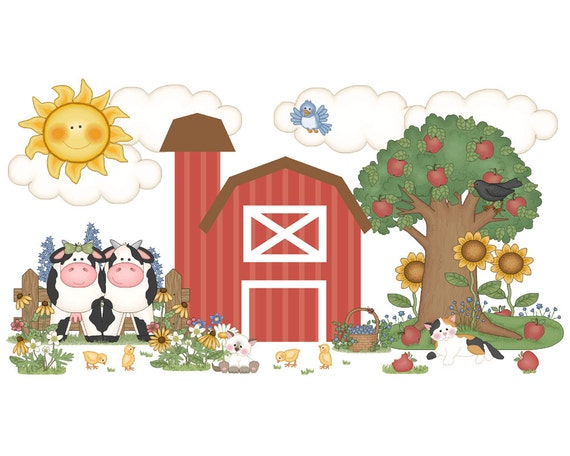 Farm animal nursery decor decal wall art barnyard mural for Barnyard wall mural