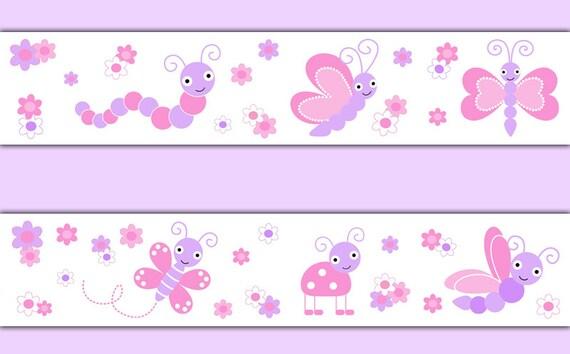 Butterfly wallpaper border decal wall art pink purple girl nursery