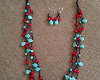 Turquoise & Red 3-strands necklace