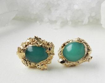20% OFF SALE chrysoprase earrings, chrysoprase studs, druzy earrings, gold earrings, gold studs, mint green