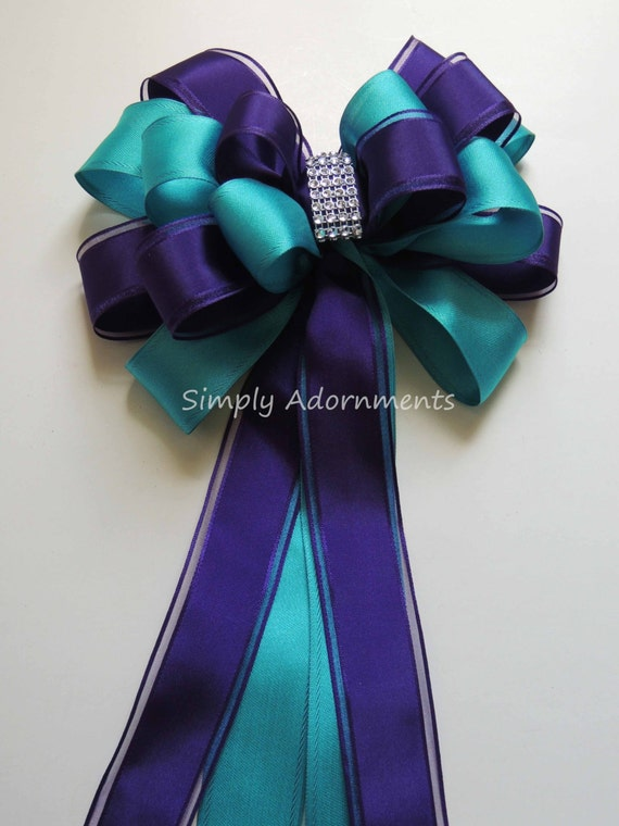 Purple Blue Peacock Wedding Aisle Bow Turquoise Purple Christmas wreath Bow, Teal Purple Party Decor Peacock Bridal Shower party Decor