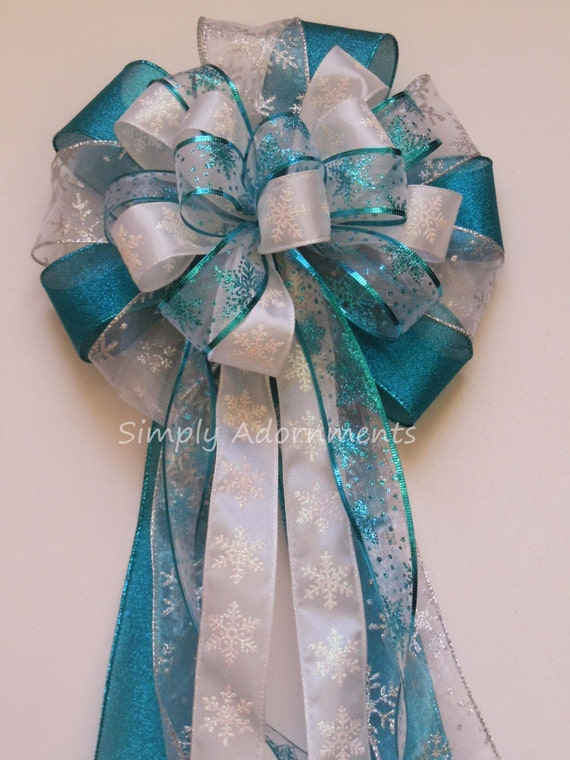 Teal White Snowflakes Bow Christmas Tree topper Bow Frozen Party Decoration Frozen Birthday Decoration Teal White Snowflakes Wedding Pew Bow