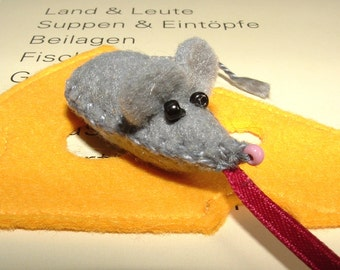 Bookmark cheese with mouse - felt - handmade - bookmark - mouse - cheese - felt