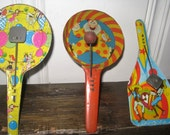 Reserved for Rodrigo - Vintage Noisemakers - 6 Vintage Noisemaker Clackers - Six Vintage Noisemakers - Paddle Style Noisemakers
