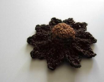 """1pc 3"""" Crochet Brown DOME DAISY Applique"""