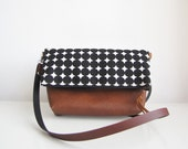 Crossbody Bag, Fold over, Crossbody Purse, Geometry, Black and White, Clutch purse, Geometric pattern