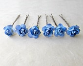 Blue Rose Hair Pins, Blue Bobby Pins, Royal Blue Wedding Hair Accessories, Cobalt Blue Flower Hair Pins, Small Paper Hair Flowers, Rose Pin