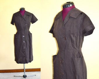 1950s Vintage Kathi Originals Brown Large Button Day Dress size S bust 36
