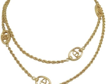 Vintage Christian Dior golden long chain necklace with CD charms. Perfect Dior vintage jewelry gift.