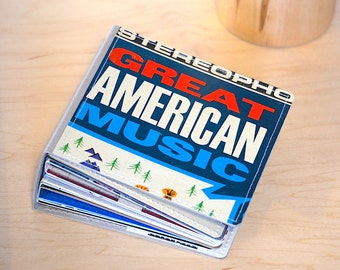 26 CD/ DVD Holder, CD Wallet Art Book Handmade from Vintage Album Cover-- American Music Edition