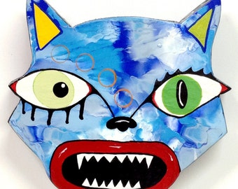 """Outsider Folk Art Cat Head, """"Mad Cat #2"""", Comical Hand Painted Cat Wall Plaque, Abstract Cat Wood Wall Art, Outsider Cat by Windwalker Art"""