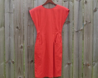 Large L Vintage 80s Red Avon Fashions Label Sleeveless Rad 80s Backless Cutout Back Button Sexy Dress