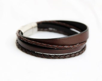Men's Leather Bracelet, multi strand, Silver Magnetic Clasp, Men's Bracelet, Men's Jewelry, Leather Bracelet, gift for him, bracelet homme