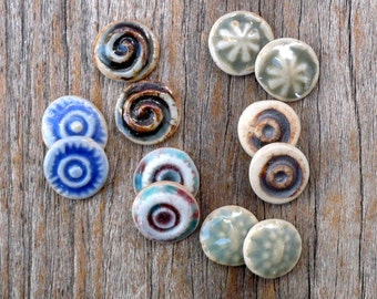 Tiny Cabochons, Earring  Flatbacks, Porcelain Cabs,Multi Color   Bead Applique Supplies