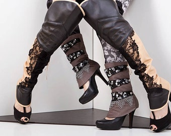 Steampunk spats with chainmail, sequin straps and silver buttons side closure