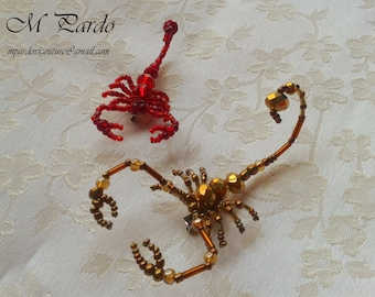 Beaded scorpion brooch or hair pin - various colours, two sizes - Price per unit