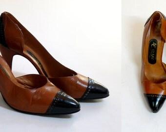 1970s Two Tone  Black & Tan Oxford Heels / Womens Size 7